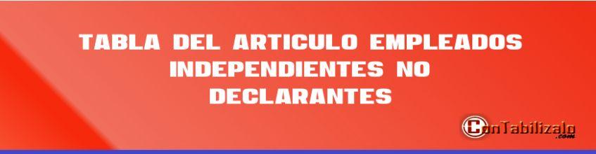 """Tabla del Articulo 383 Empleados """"Independientes"""" No Declarantes."""
